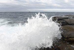 Meereswelle klatscht mit weit aufspritzender Gischt an einen Felsen