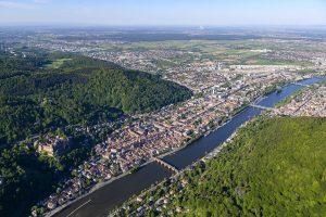 Luftbildaufnahme von Heidelberg mit Blickrichtung Südwest