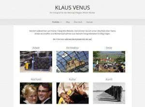 Screesnhot der Startseite von www.klaus-venus.de