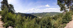 Panorama-Aussicht vom Parkplatz Drei Buchen über den Pfälzer Wald