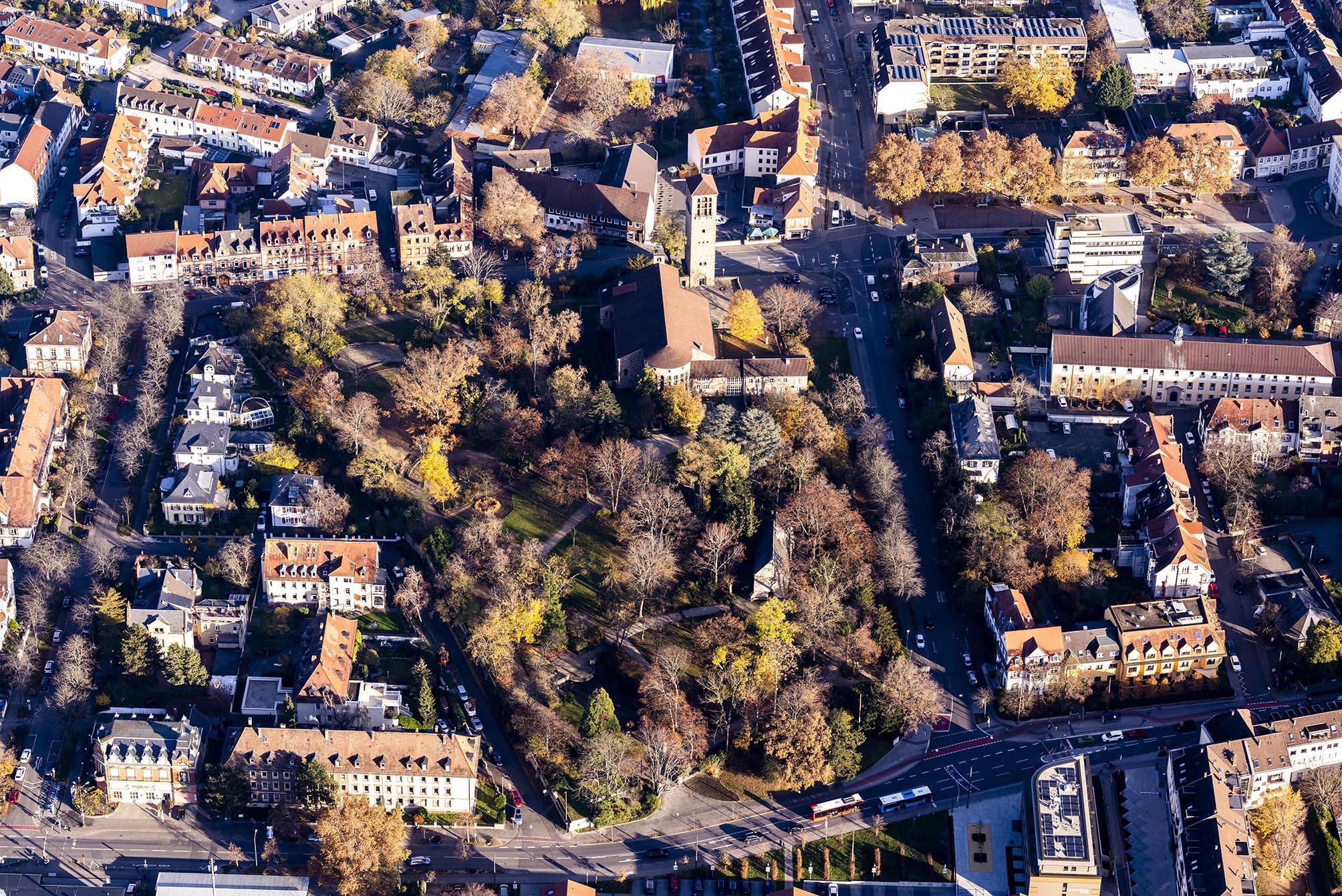 Luftbildaufnahme des Speyerer Adenauerparks